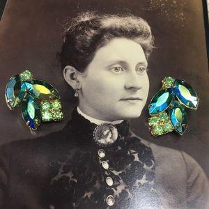 Vintage AB Green & Blue Clip-On Earrings